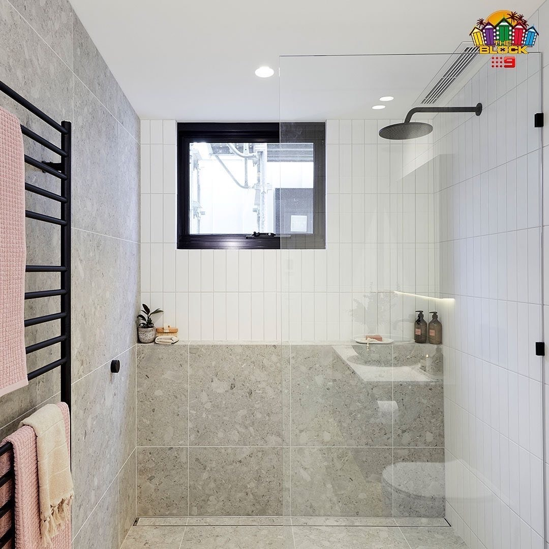 """Frameless Shower Screen installed by Harry and Tash on """"The Block"""""""